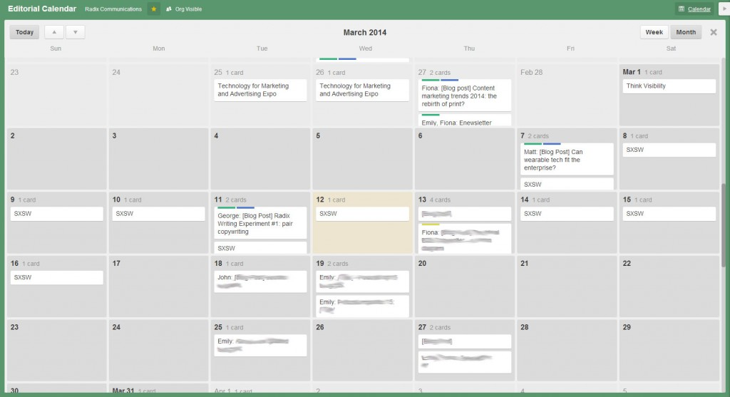 Radix editorial calendar Trello img 3