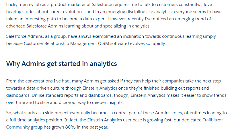 Blog excerpt from Salesforce