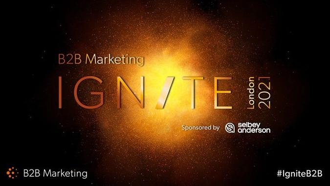 B2B Marketing Ignite London 2021 Logo. It's orange on a black background and looks a bit like an explosion.