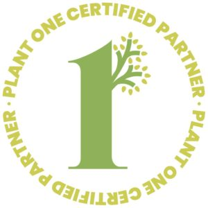 Logo: Plant One Certified Partner. The words form a green circle, around a number one styled to look like a tree with fresh leaves. It's also a hyperlink to the Plant One website.