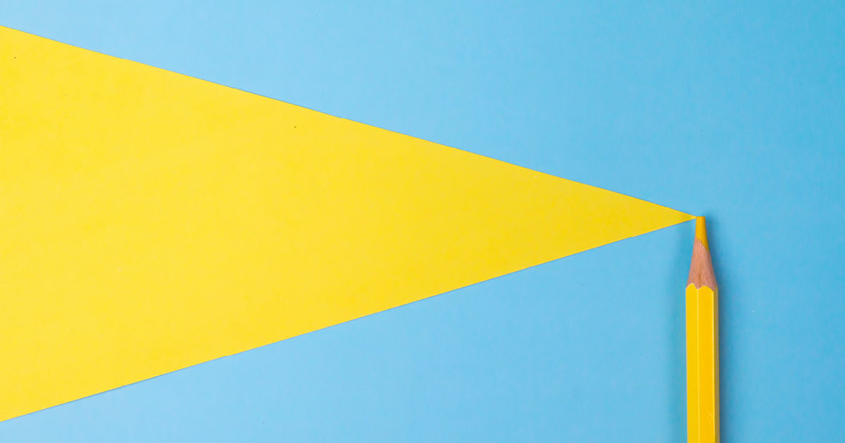 yellow triangle on a blue background with a yellow pencil at the tip of the triangle.