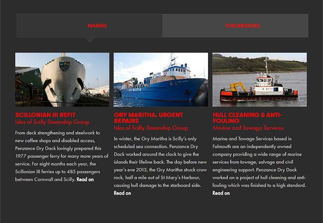 Penzance Dry Dock: engineering web copy